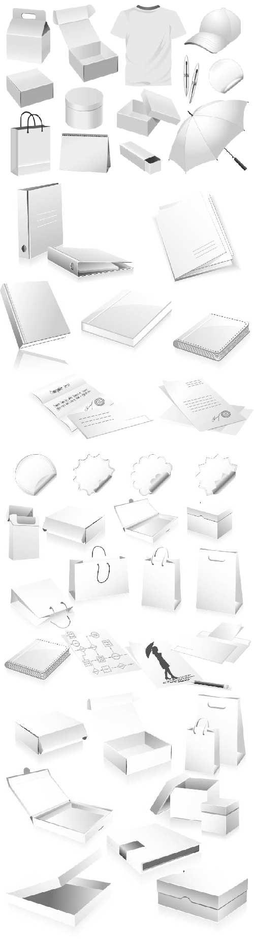 多款矢量vi空白模板素材,内含盒子类,手提袋子,书本标签,衣服帽子,雨伞